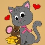 Игра Раскраска Кошка и Мышка