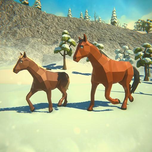 Симулятор Семьи Лошади Зимой - Скриншот